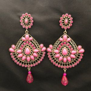 Pink & Gold Jeweled Chandelier Earrings